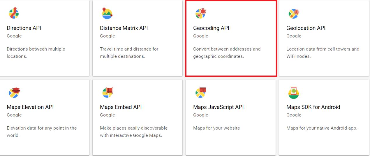 Google geocoding API