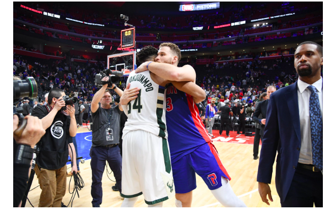 Giannis Antentokounmpo and Blake Griffin congratulating each other after the Bucks competed the sweep.