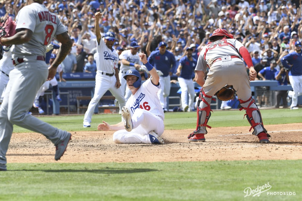 Katie Chin/Los Angeles Dodgers Will Smith scoring the game-winning run.