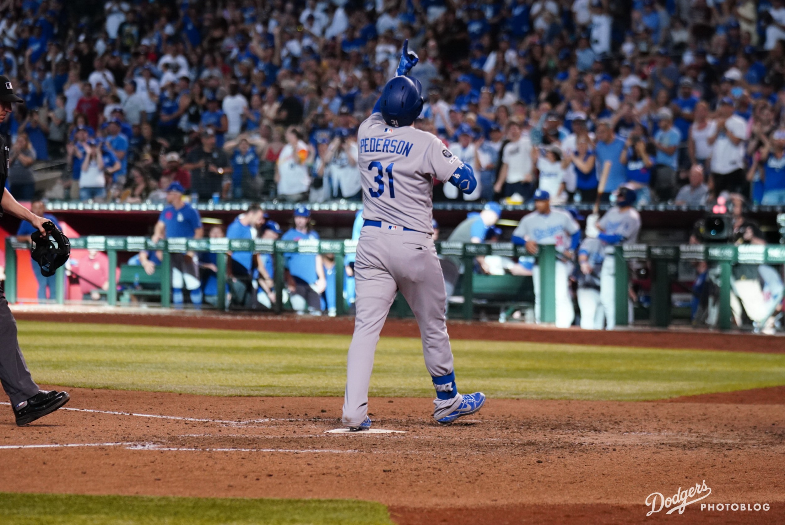 Joc Pederson celebrating his home run. Hans Rodriguez/MLB.com