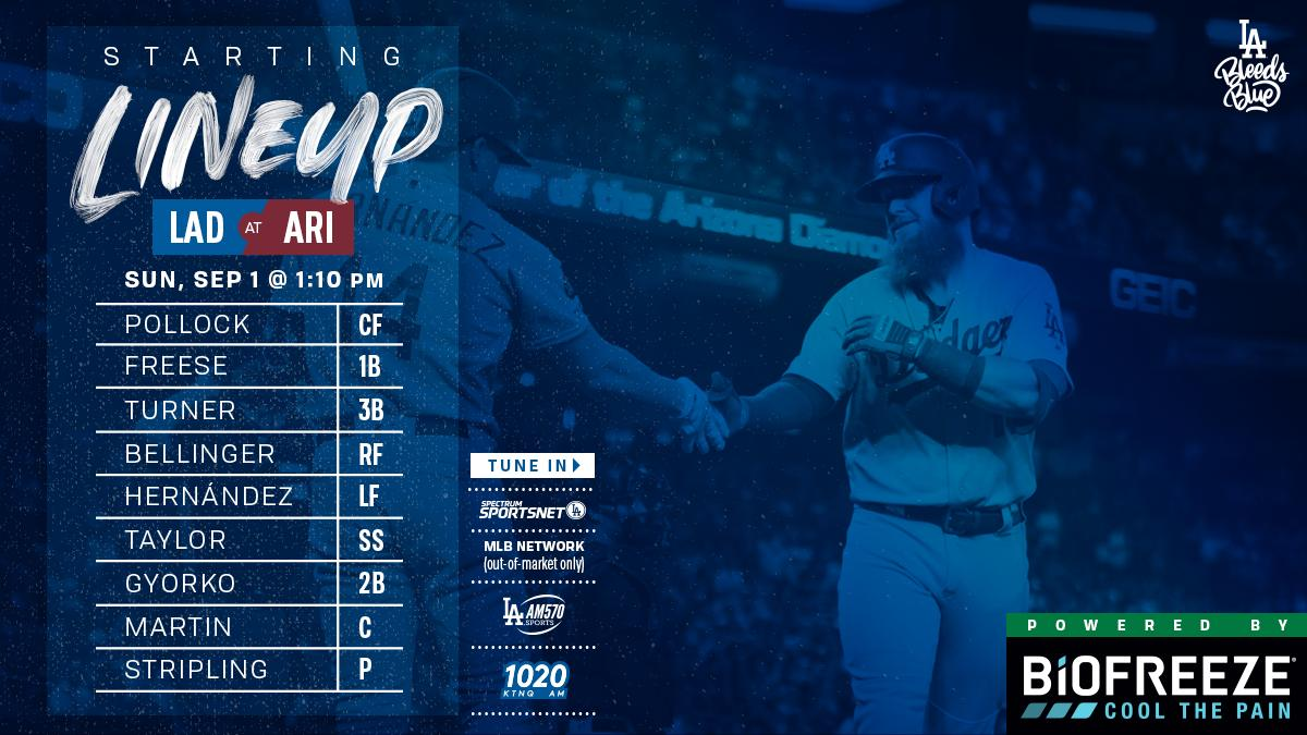 Dodgers lineup in the final game of the 4-game series.