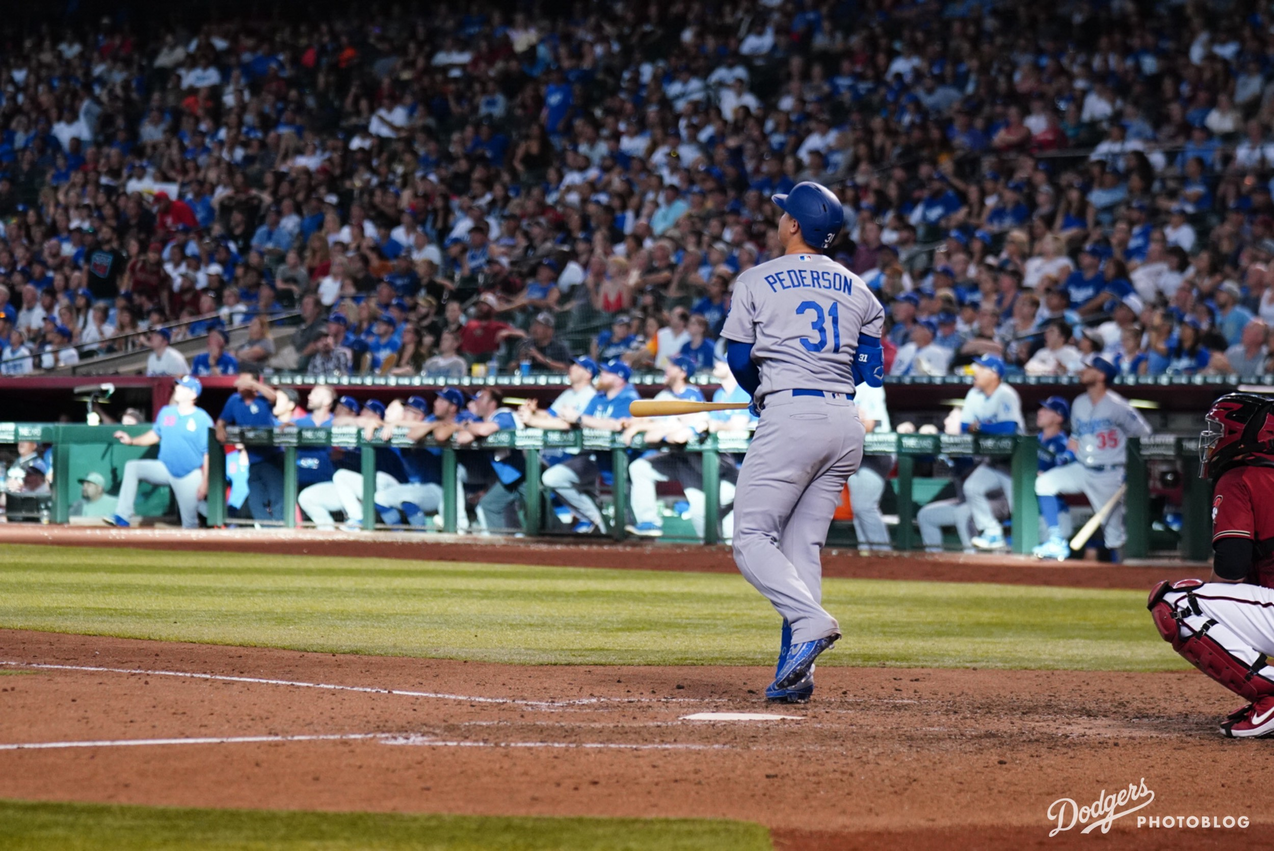 Joc Pederson hitting into the moon. Hans Rodriguez/MLB.com