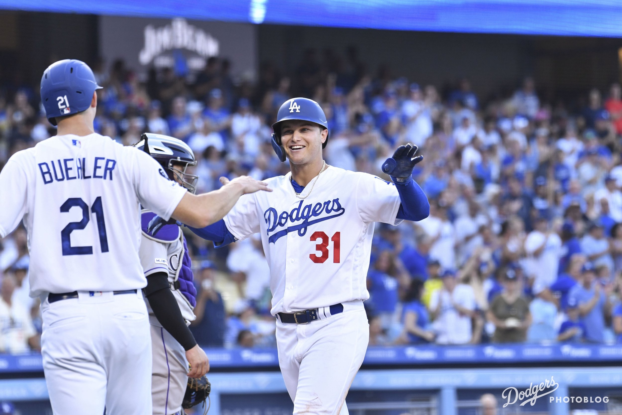 Joc Pederson hitting his 30th home run of the season. Katie Chin/Los Angeles Dodgers