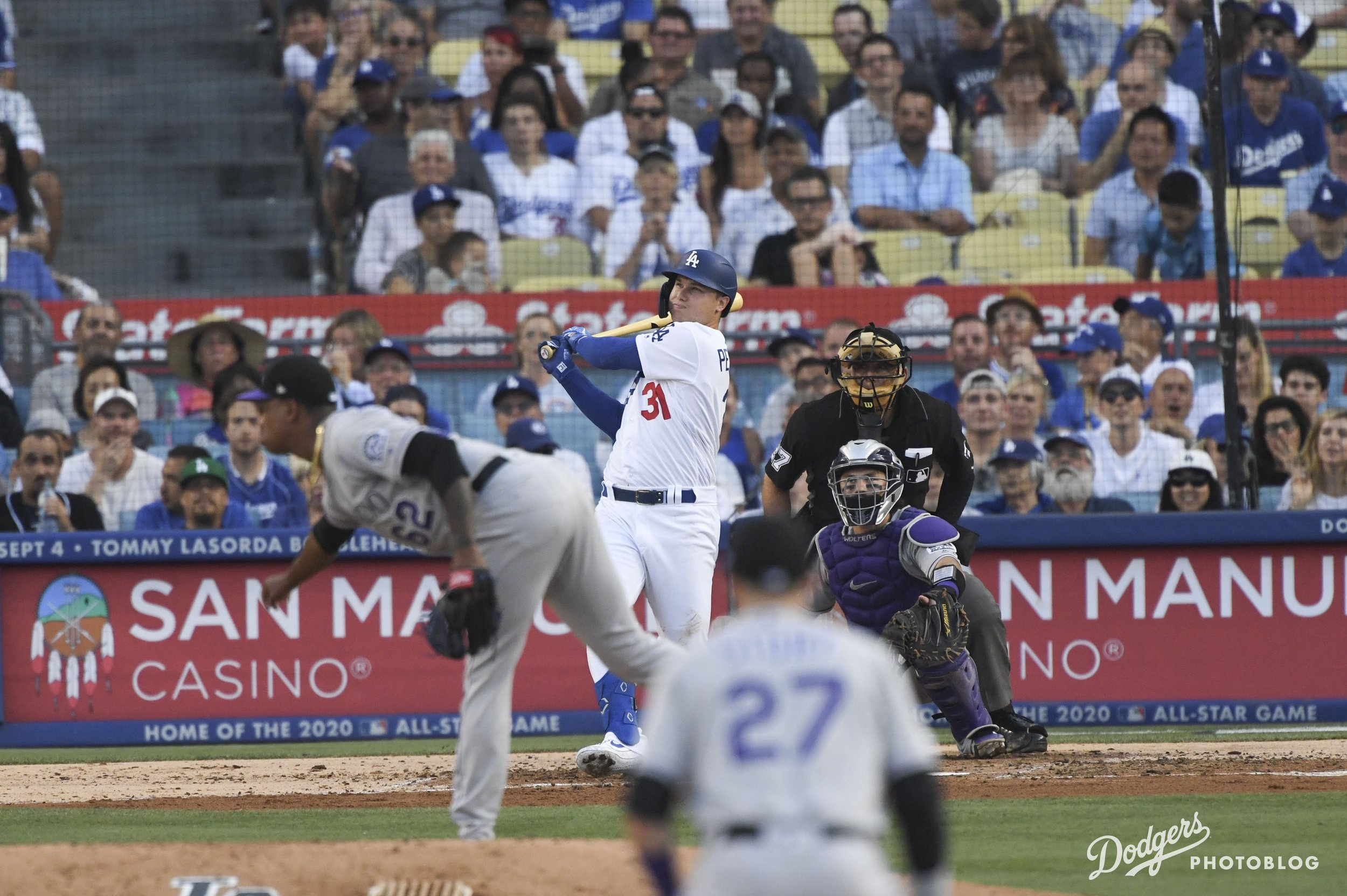 Joc Pederson crushing one into San Pedro. Jon SooHoo/Los Angeles Dodgers