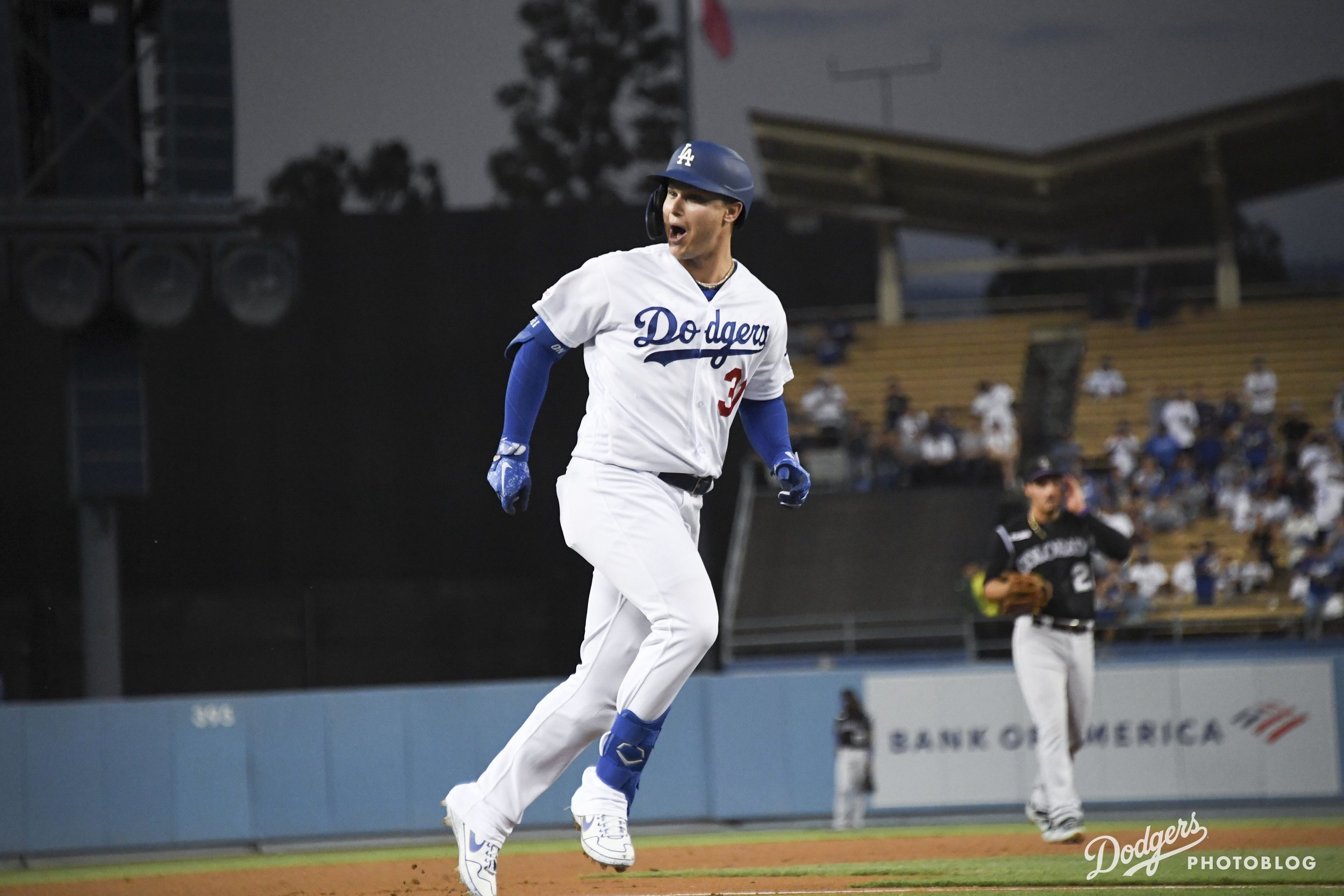 Joc Pederson with the record-breaking home run. Jon SooHoo/Los Angeles Dodger