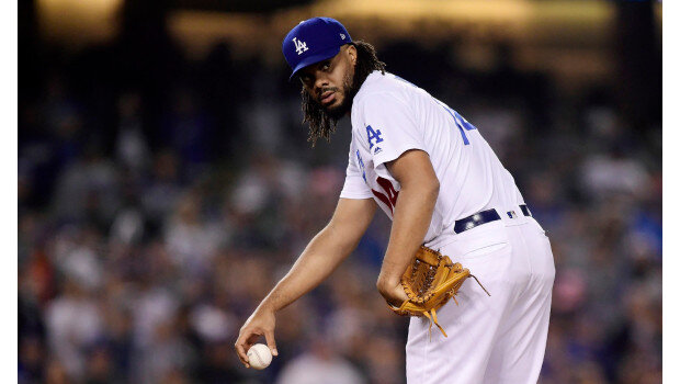 Kenley Jansen checking on the runner.