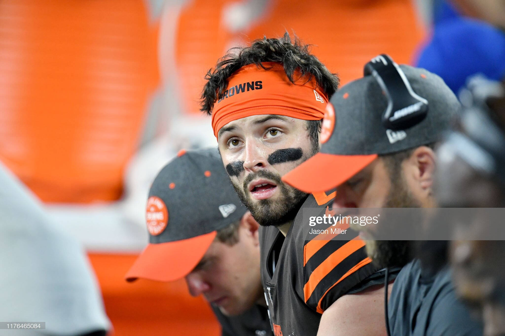 Baker Mayfield on the bench after a quick drive.