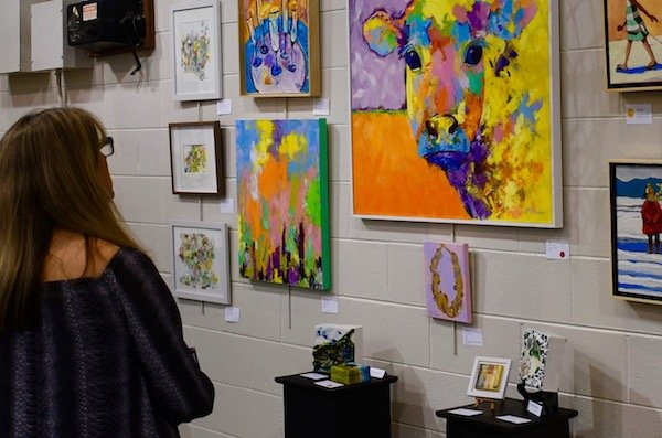 The gym at The New Community School was the home for last year's READ Art Show & Sale. (Photo by Keith Crossman)