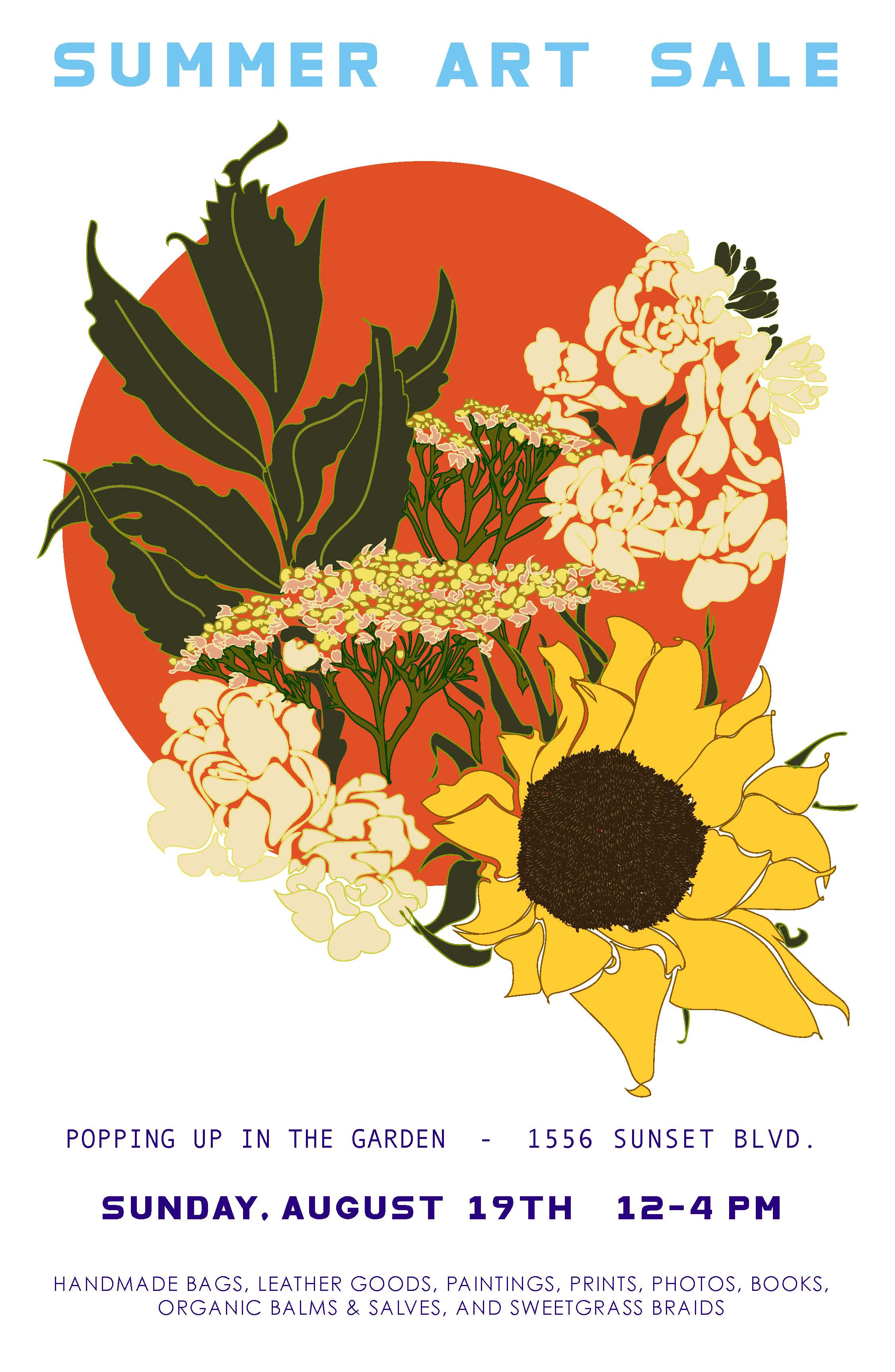 SUMMER ART SALE •ILLUSTRATION + DESIGN  Illustration and design of printed collateral (poster + postcards) for 2018 garden makers market.
