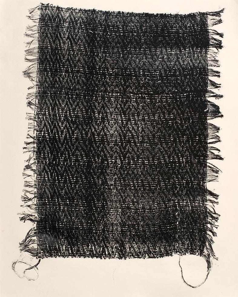 "Artifact II , 2006. Monoprint of hand-woven sample, 18"" x 24"""