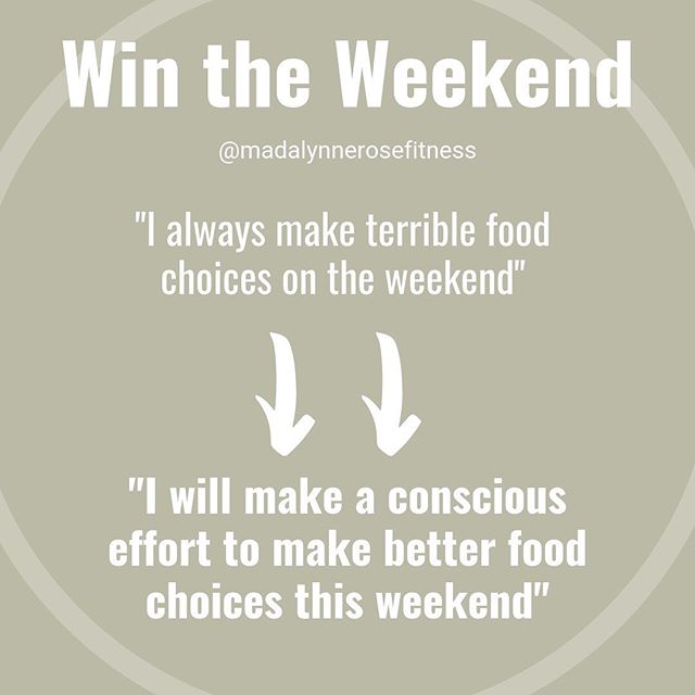 """I eat so well Monday-Thursday, then I make terrible choices on the weekend 😖""⁣⁣ ⁣⁣ If you can relate, comment 👋🏽 below.⁣⁣ ⁣⁣ This pattern of bad habits of the weekends is common and something I used to struggle with constantly.⁣⁣ ⁣⁣ So how did yo STOP sabotaging your goals and health on the weekend?⁣⁣ ⁣⁣ • Realized you are in control of my decisions⁣⁣ • Changed you're limiting belief to an empowering one like the example above⁣⁣ • Stop trying to be perfect during the week and add some damn chocolate chips to your oatmeal if you want it⁣⁣ • Remember that every small decision adds up⁣⁣ ⁣⁣ The weekend is just another 2 days to take one daily action toward your goal.⁣⁣ ⁣⁣ It doesn't have to be monumental change. Think of something as small as not asking for the bread basket at the restaurant and still ordering an alcoholic drink. #littlewins⁣⁣ ⁣⁣ This weekend I'm getting some relax & work in + hanging at the beach ☀️ What about you?"