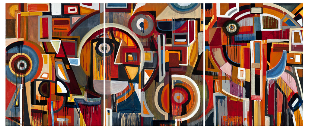 # DP3000-  Surrounded by faith, 2009 triyptch, oil on canvas (60 x 144in. total) 3 panels 152.4 x 121.92cm (60 x 48in.).jpg