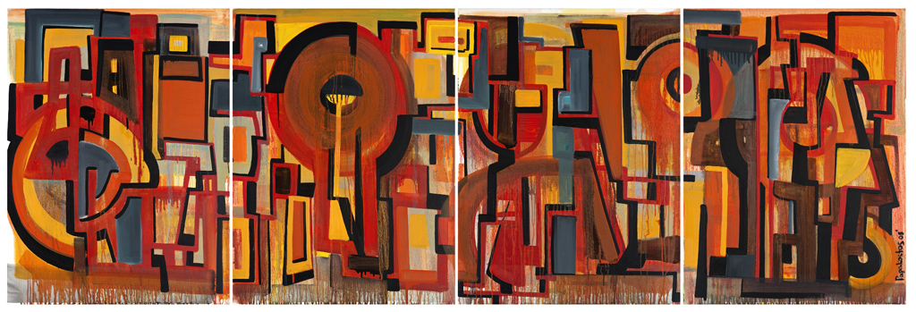 #DP4000 - Walking on the other side, 2008 oil on canvas, 101.6 x 304.8cm (40 x 120 in.) quadriptych (each panel 101.6 x 76.2cm (40 x 30in.).jpg