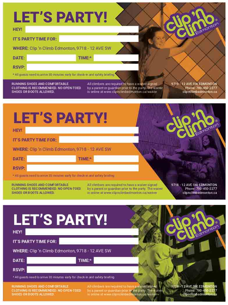 Need invitations for your party?   Download  our Clip 'n Climb invitation template.