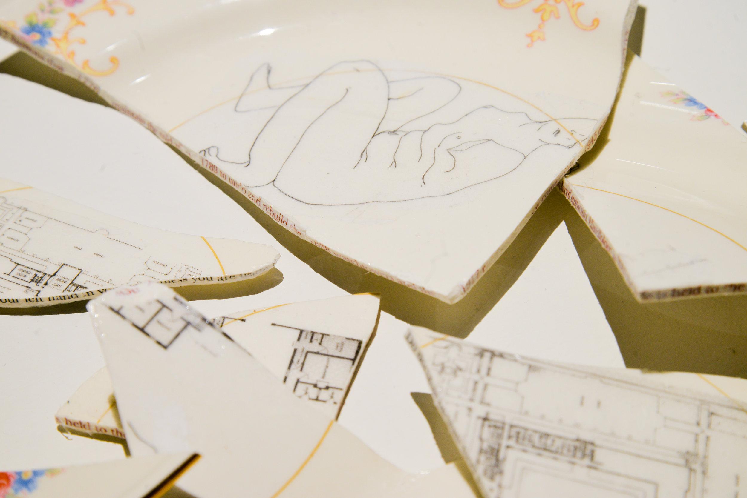 do not, 1750 ( detail)  Gel transfers on plates, artist book  2018  (Photo taken by  Kristina Johnson )
