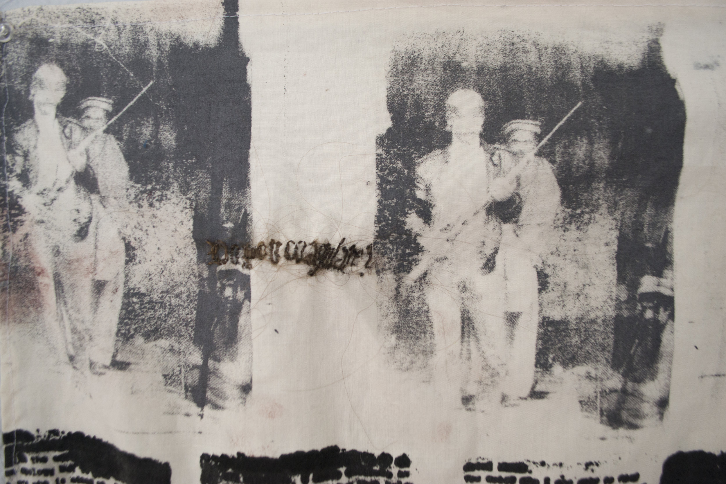 My father tells me not to drink from the family pewter   Screenprint and photolithography on fabric, embroidered human hair  2019