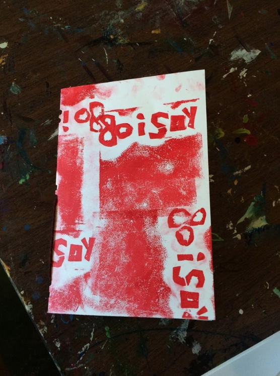 A relief print done by a young student during a print and bookmaking workshop