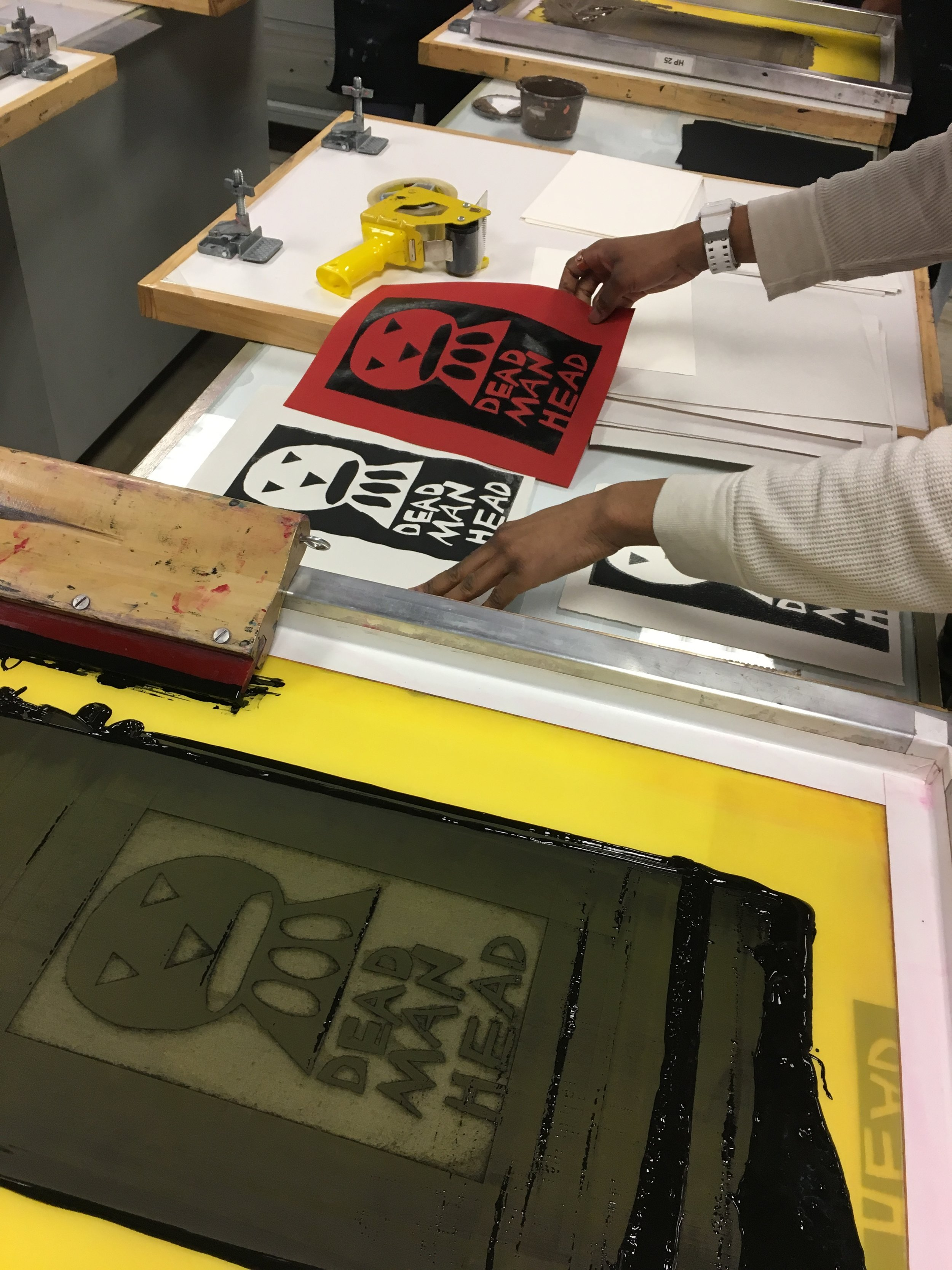 A screenprinting project from a co-taught class at highpoint center for printmaking