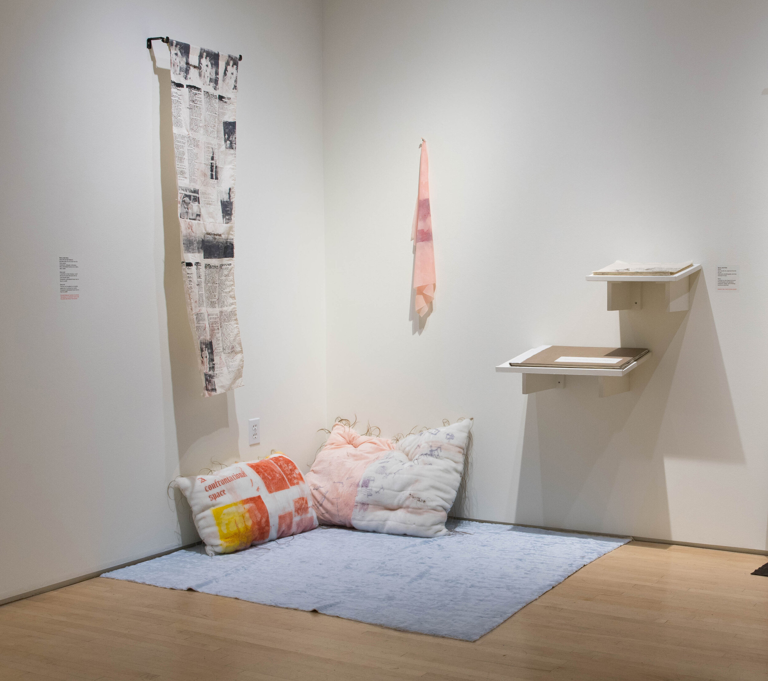 Comfort Installation   Mixed media installation containing screenprinted faux fur pillows, embroidery, artist books, and screenprint and bullets on latex  2019