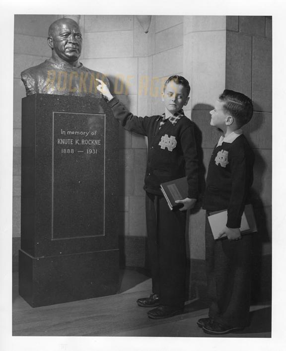 The Knute Rockne Memorial statue.