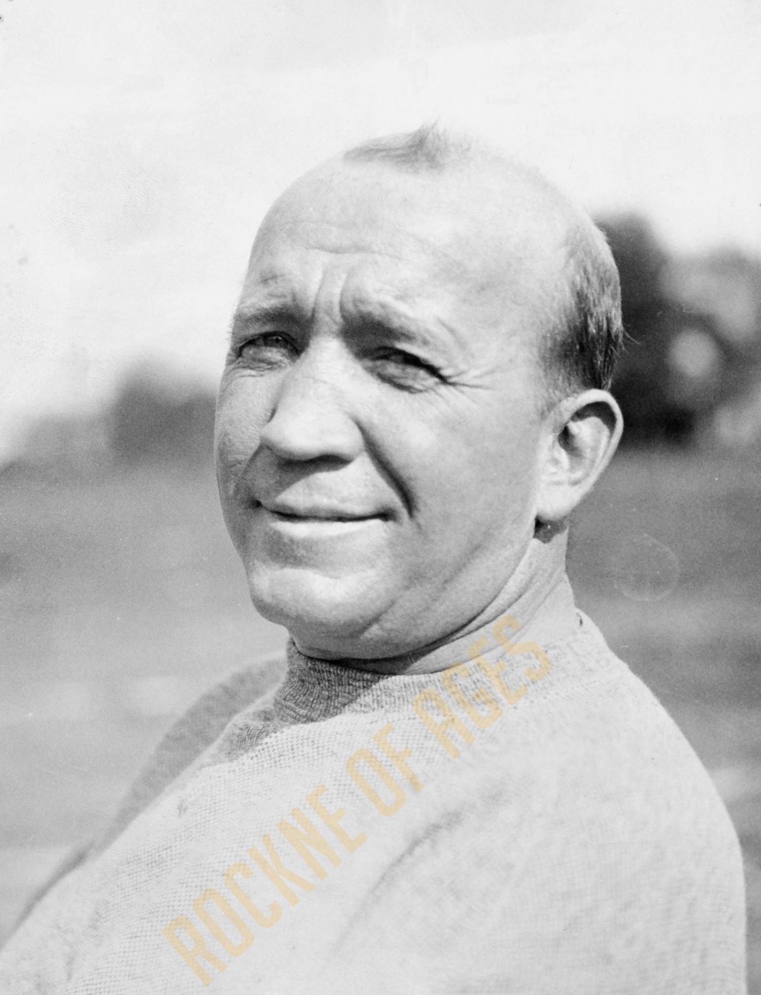 Rockne the coach in a practice session sweatshirt.