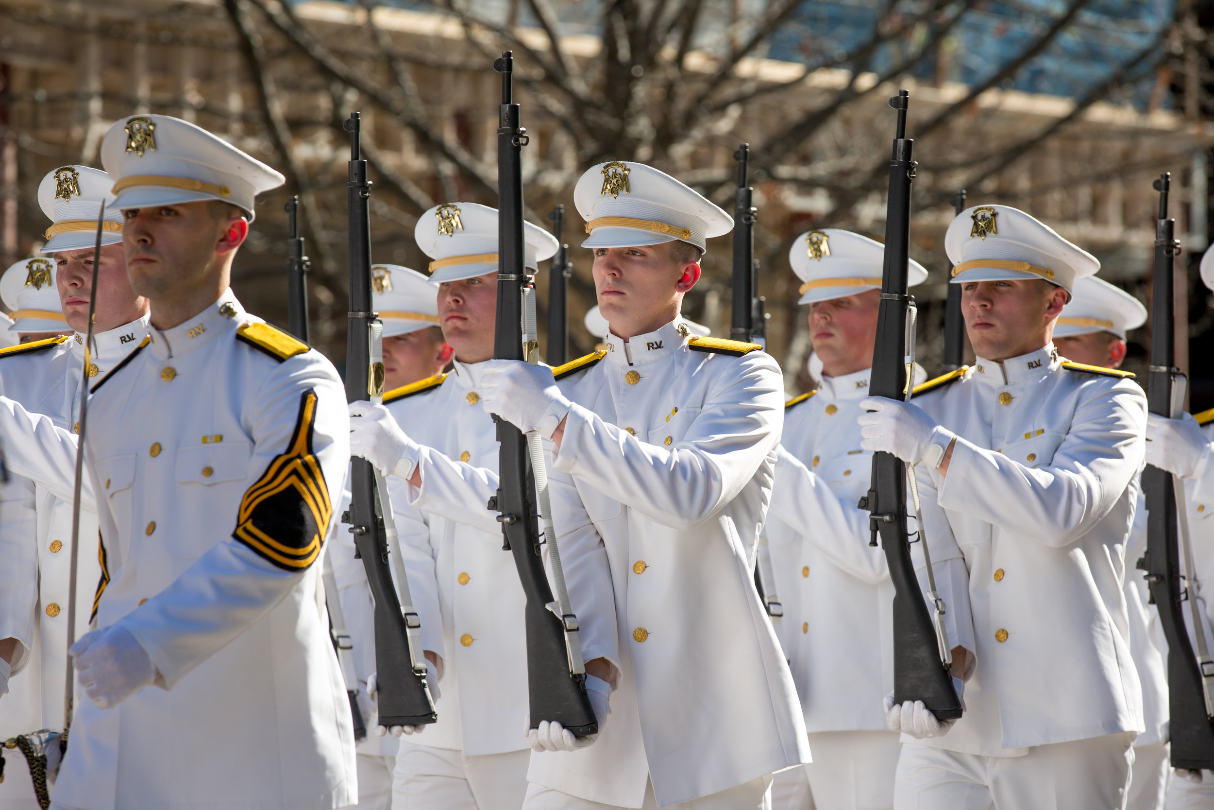 Texas Honor Guard march during Governor's Greg Abbott's inauguration.