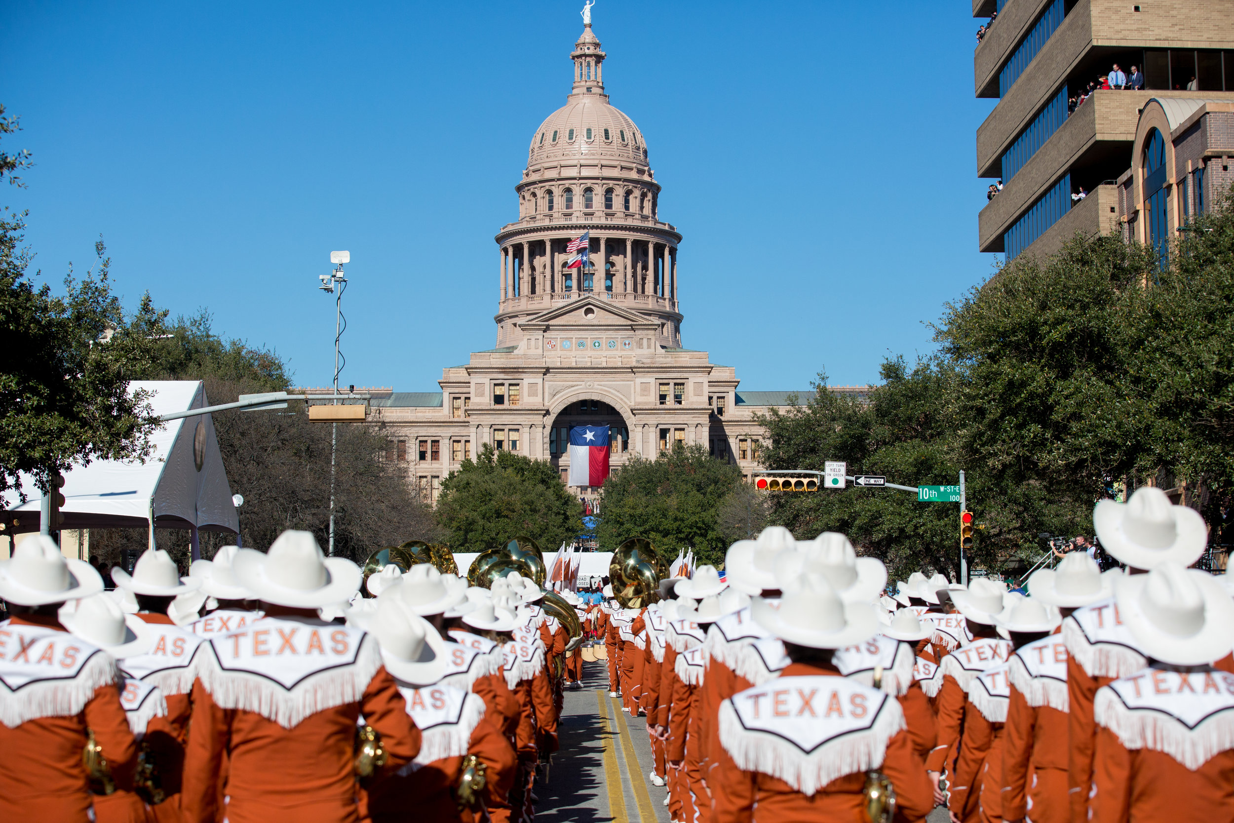 University of Texas at Austin's marching band performs during Governor Greg Abbott's inauguration.