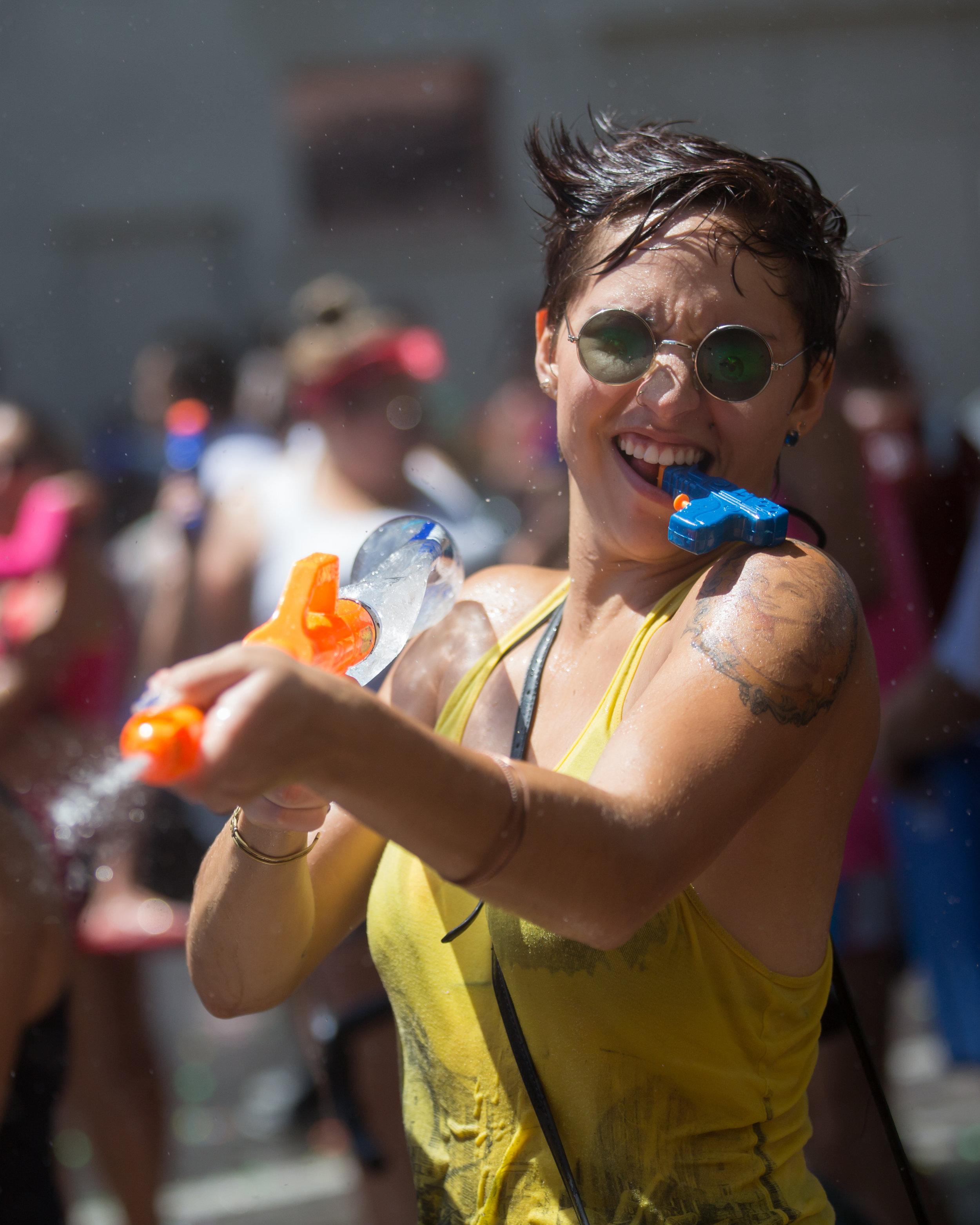 An Austinite takes part in the annual Austin Splash Mob.