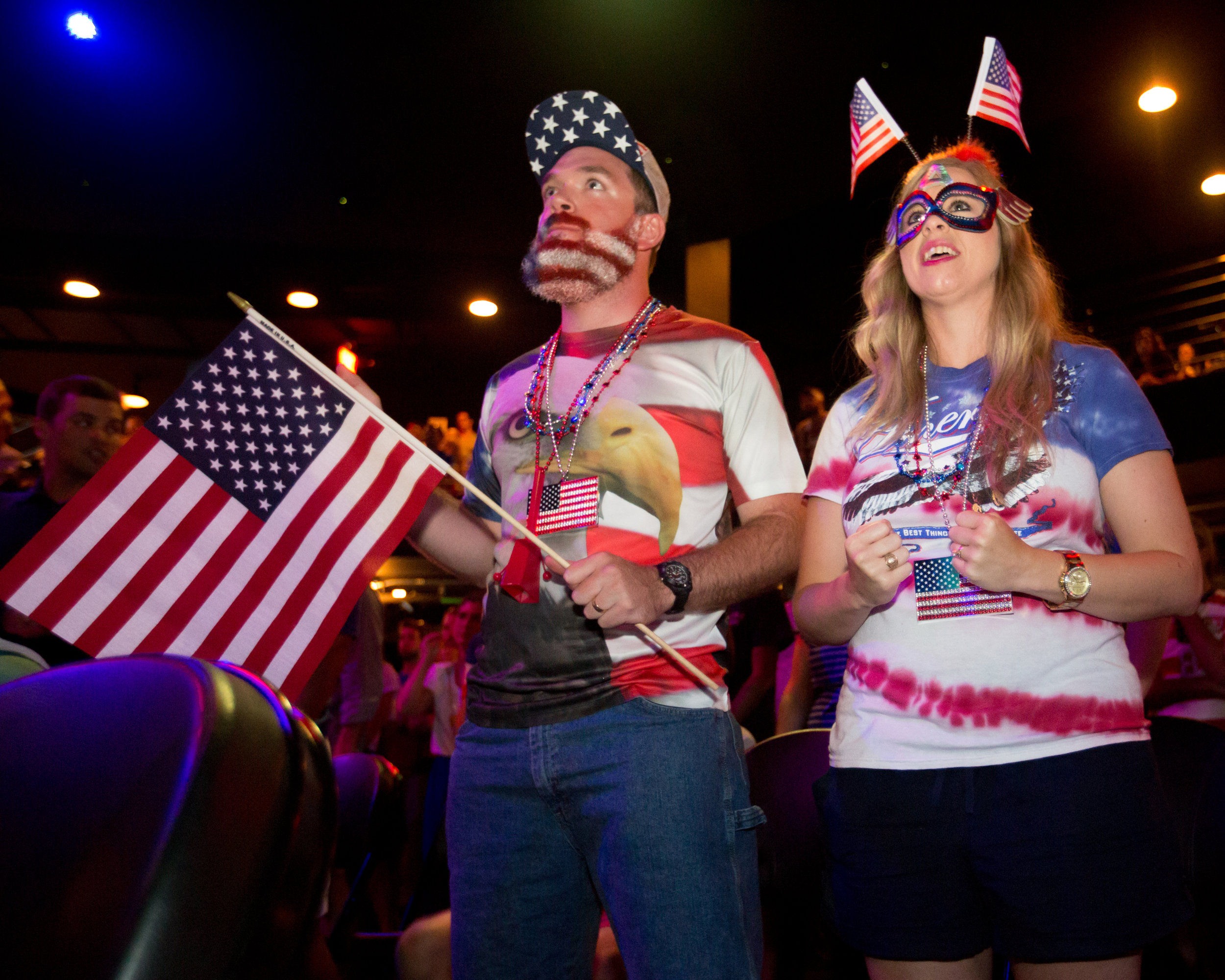Two US Soccer fans watch the 2014 World Cup in Austin, TX