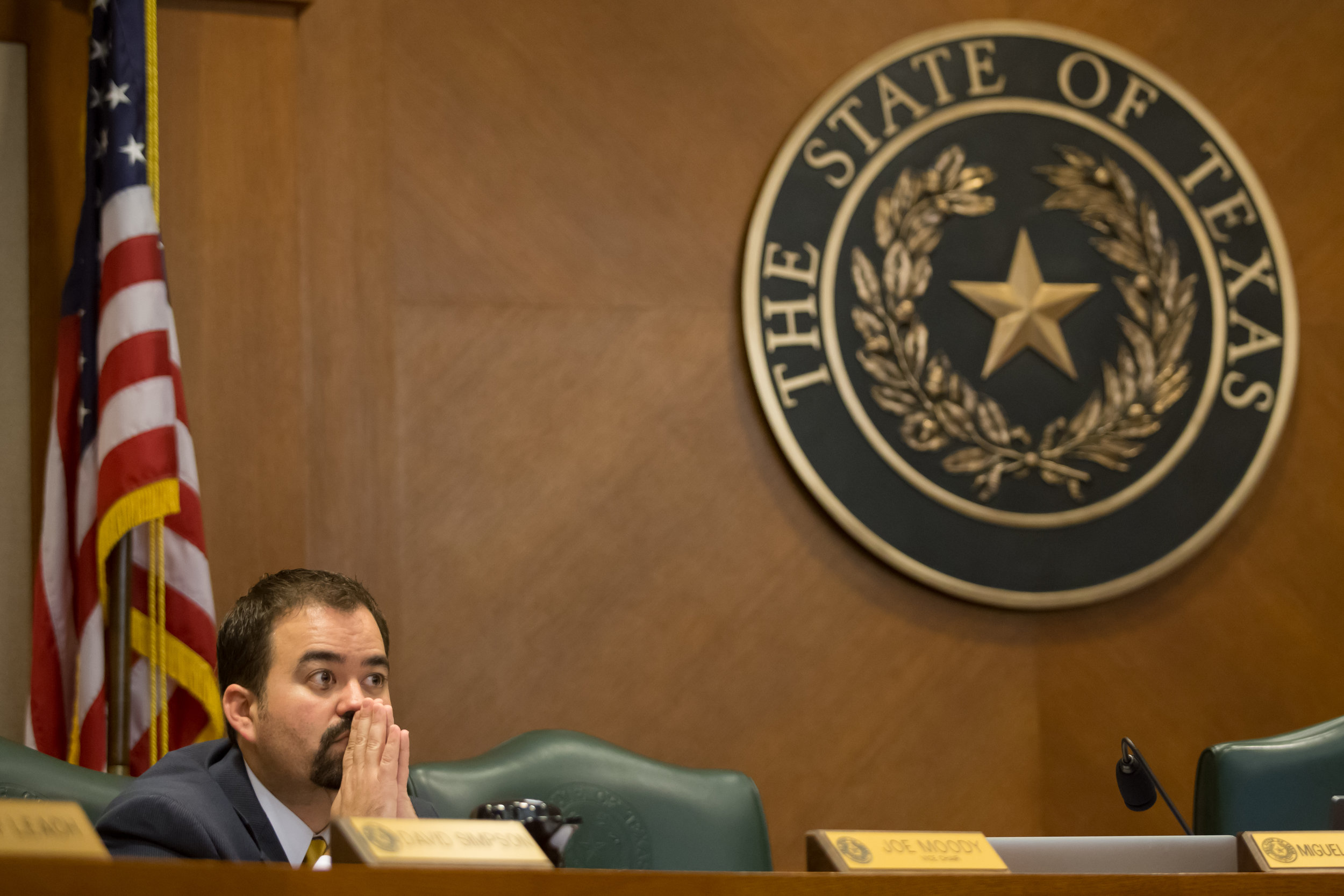 Texas State Representative Joe Moody takes a moment to himself in chambers.