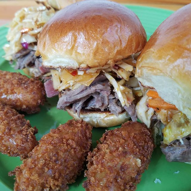 Asian Sliders. Bacon Croquettas. My goodness!