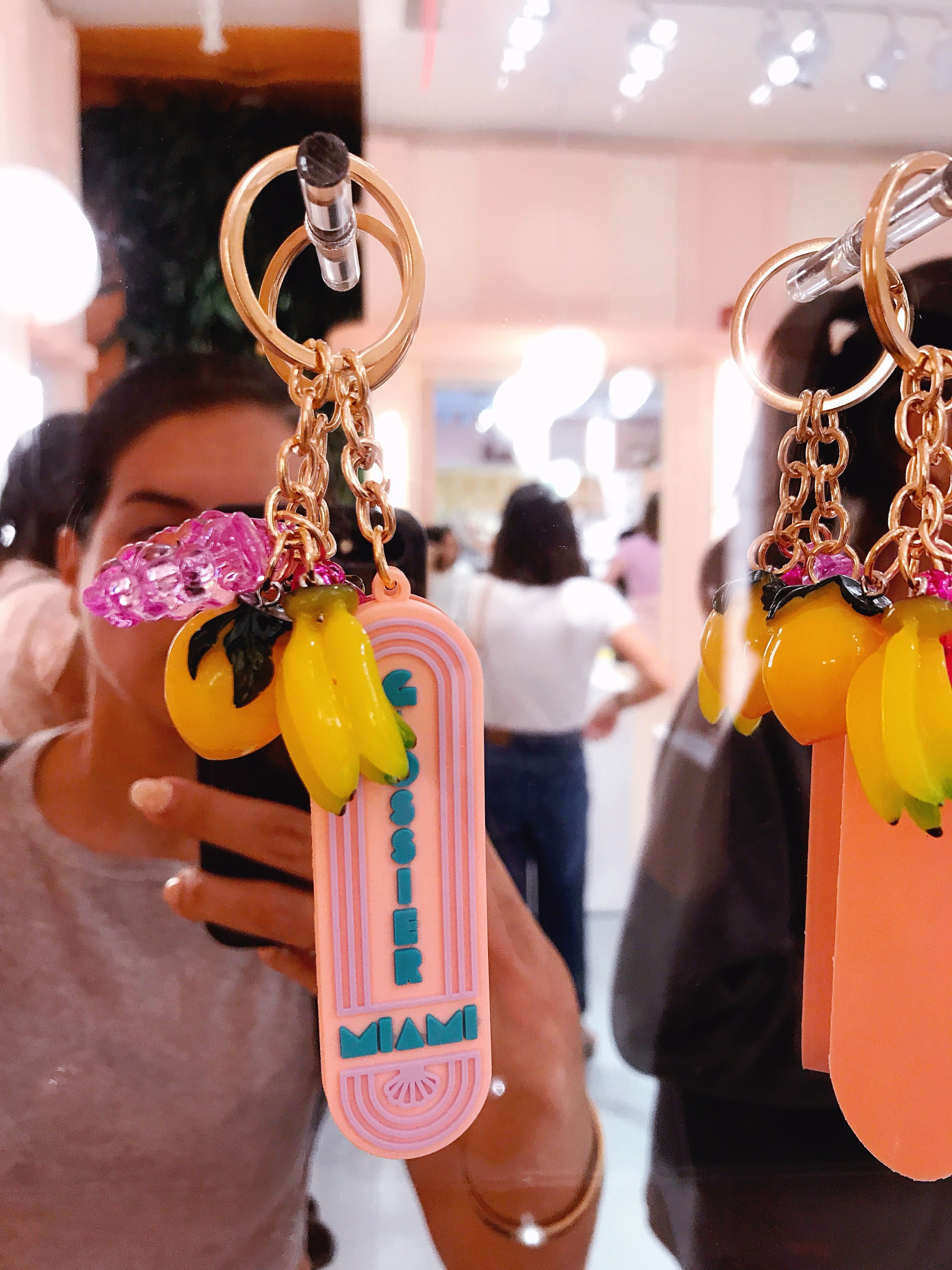 Glossier Selfie! Naty knew what was up and grabbed an exclusive keychain for her Nat friend here :). (Photo Credit: Natalia Yepes)
