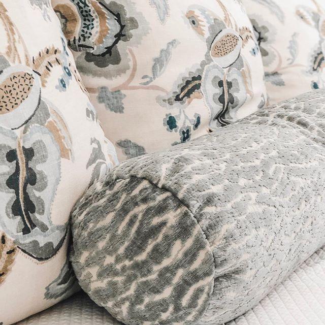 Saturday snapshot... dreamy master bedroom pillows . . . #marymcbrideinteriors #loveyourinteriors #texture #subtlecolor #relax #retreat #lovemyclients #birminghaminteriors