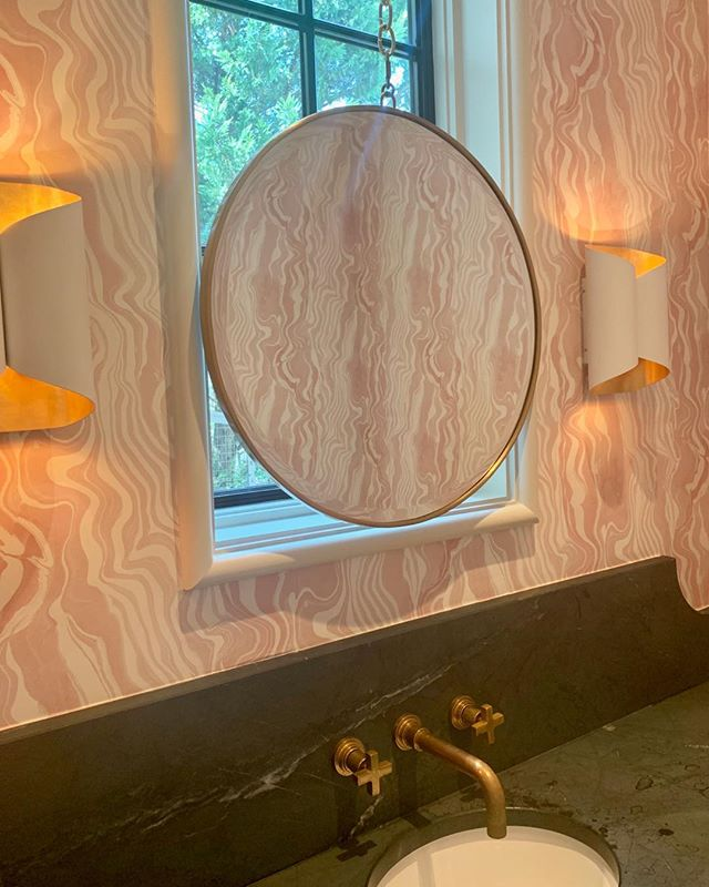 Reflections   a beautiful powder room jewel box... . . . #marymcbrideinteriors #soapstone #custom #unlaqueredbrass #texture #blush #loveyourhome #birminghamdesign