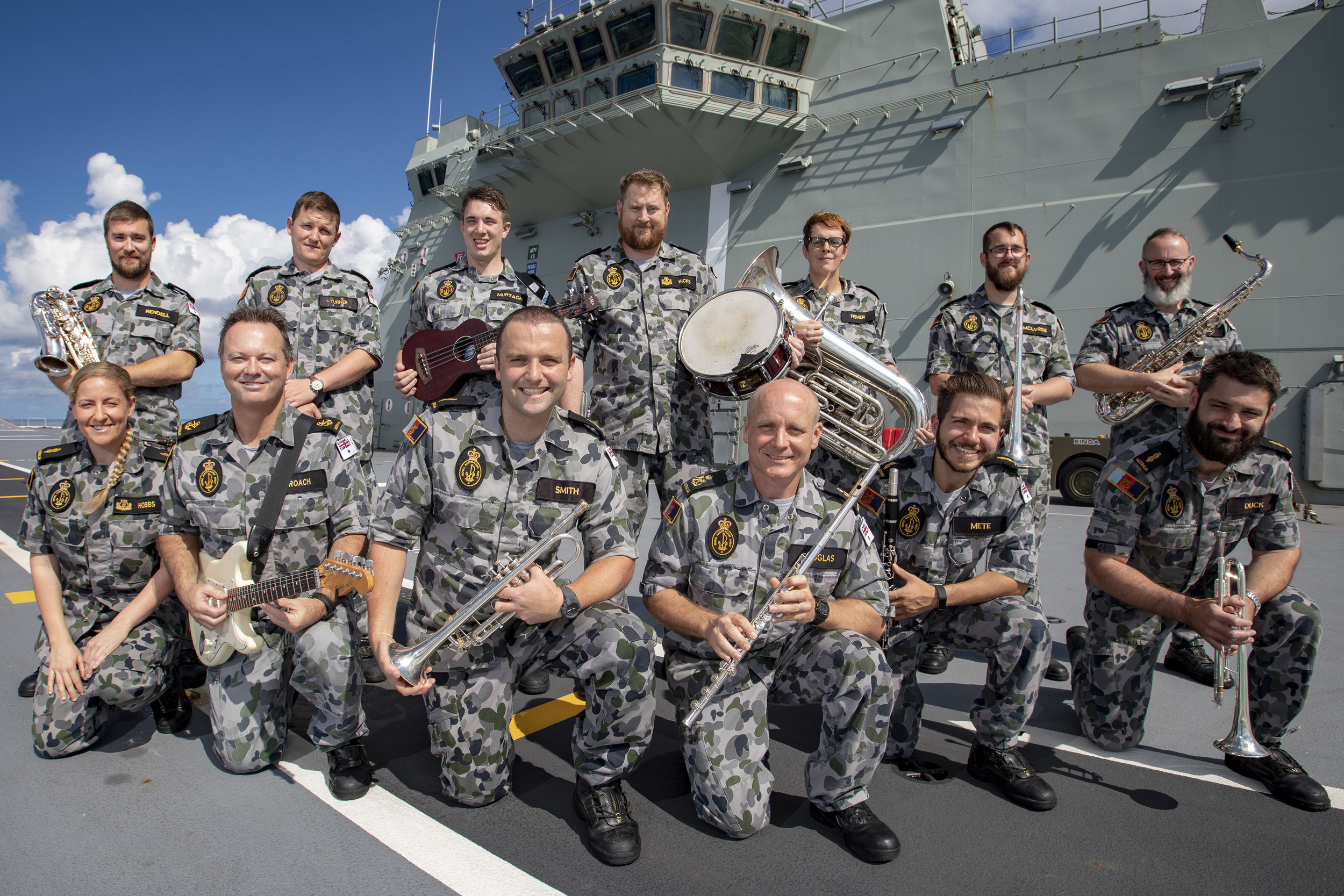 Ben deployed with RAN Band onboard HMAS Adelaide during India-Pacific Endeavour in 2018 -