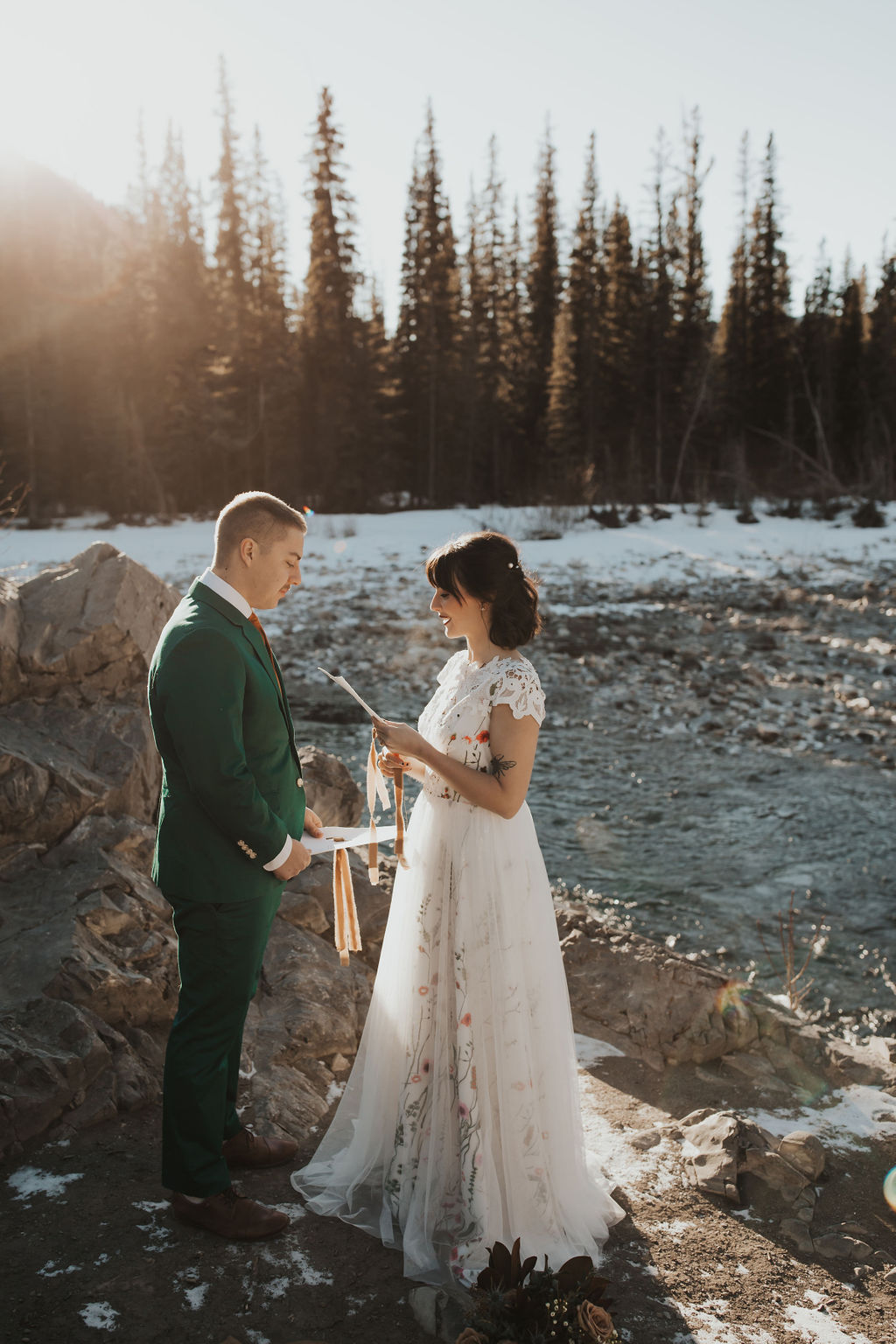 Winter Elopement at Mama Bear Cabin // Wedding Inspiration in Bragg Creek, Alberta - Bronte Bride