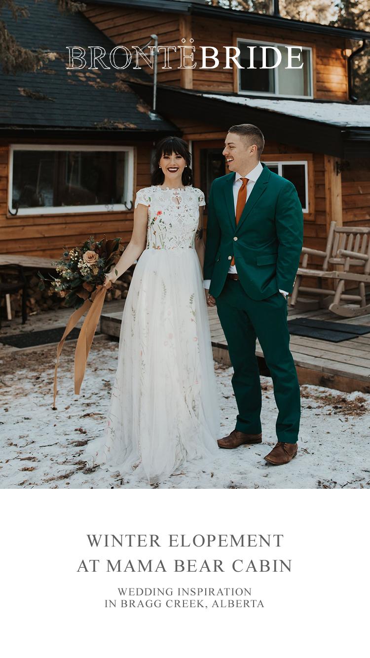 Winter Elopement at Mama Bear Cabin // Wedding Inspiration in Bragg Creek, Alberta