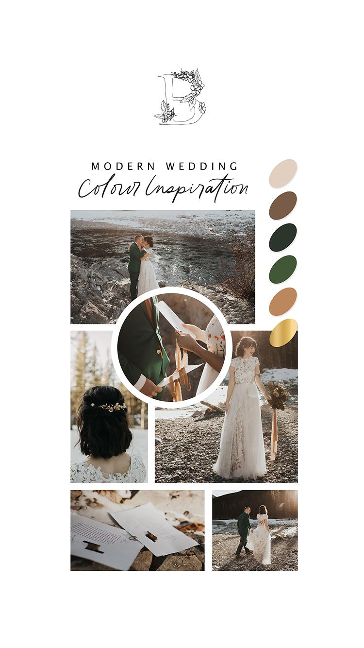 Winter Elopement at Mama Bear Cabin // Bronte Bride - Modern Wedding Colour Inspiration
