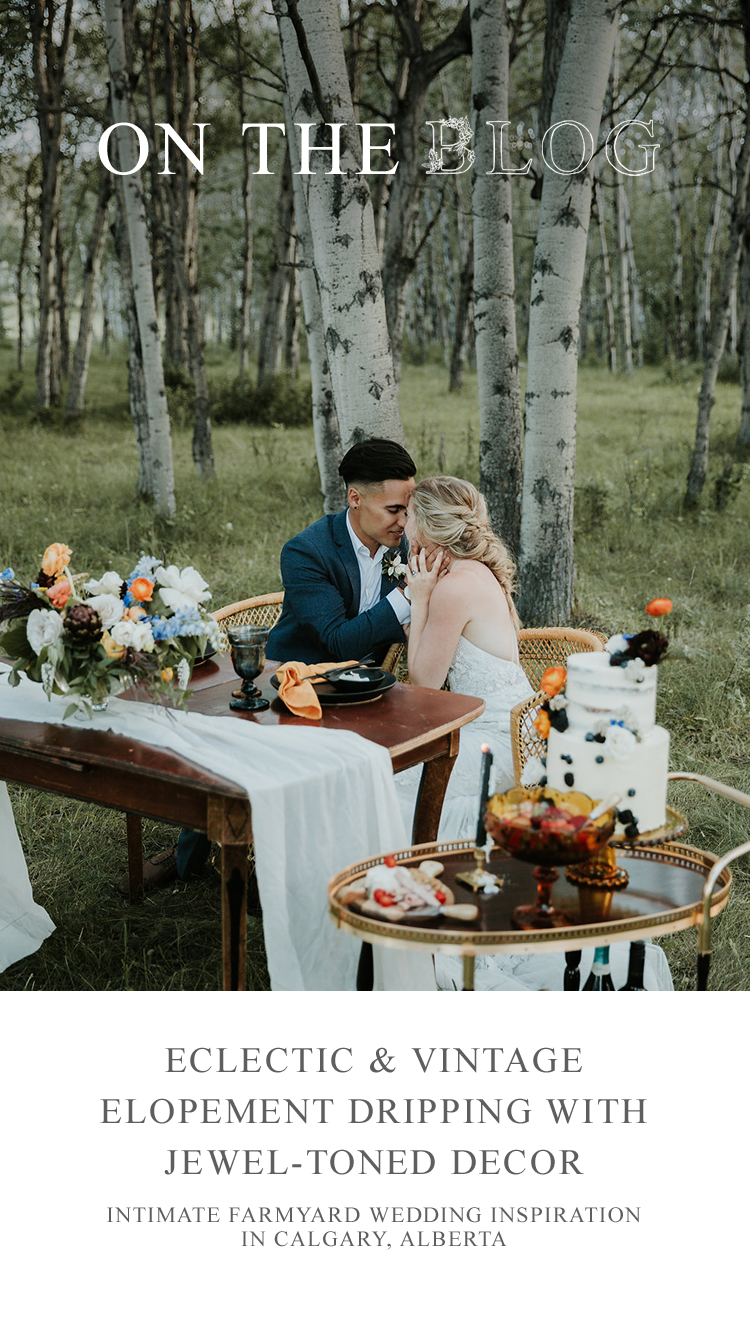 Intimate Farmyard Wedding Inspiration // Eclectic & Vintage Elopement Dripping With Jewel-Toned Decor - on the Bronte Bride Blog