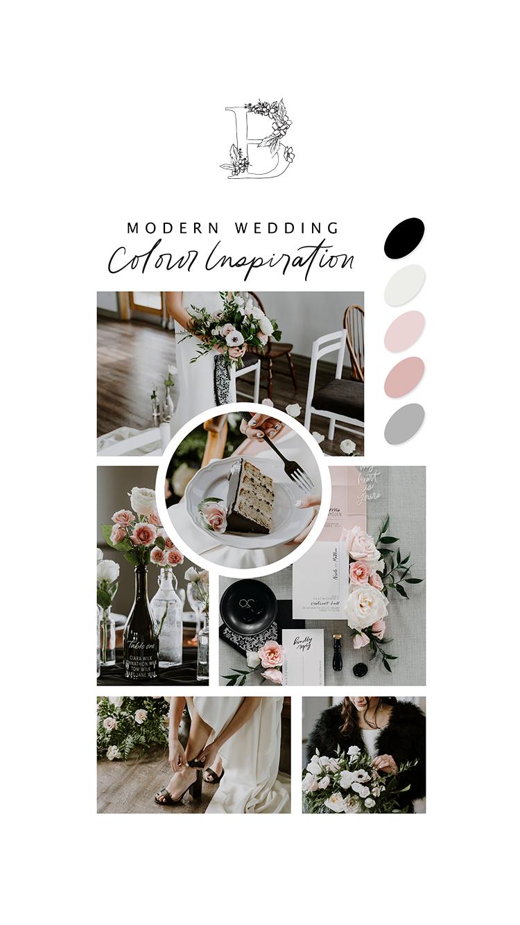 La Mariée Moderne // Styled Bridal Shoot at Crestmont Hall in Calgary, Alberta - On the Bronte Bride Blog - Modern Wedding Colour Palette Inspiration