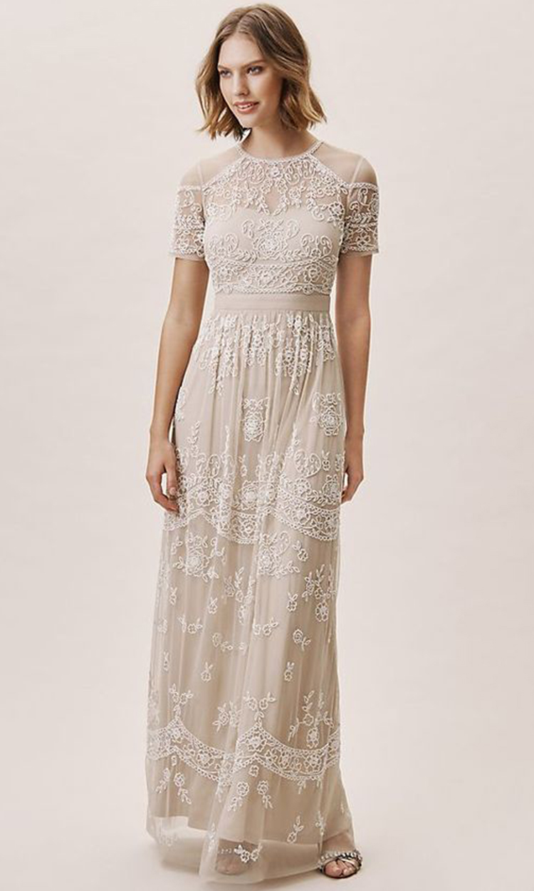 shop anthropologie - Elegant Bridesmaid's Dresses in nude, champagne, and ivory tones.