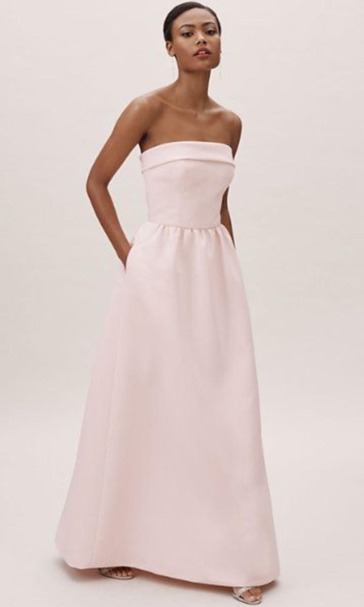 shop bhldn - Elegant Bridesmaid's Dresses in blush, and light pink tones.