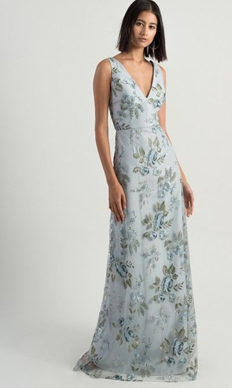 shop jenny yoo - Elegant Bridesmaid's Dresses in baby blue, soft blue and gray blue tones.