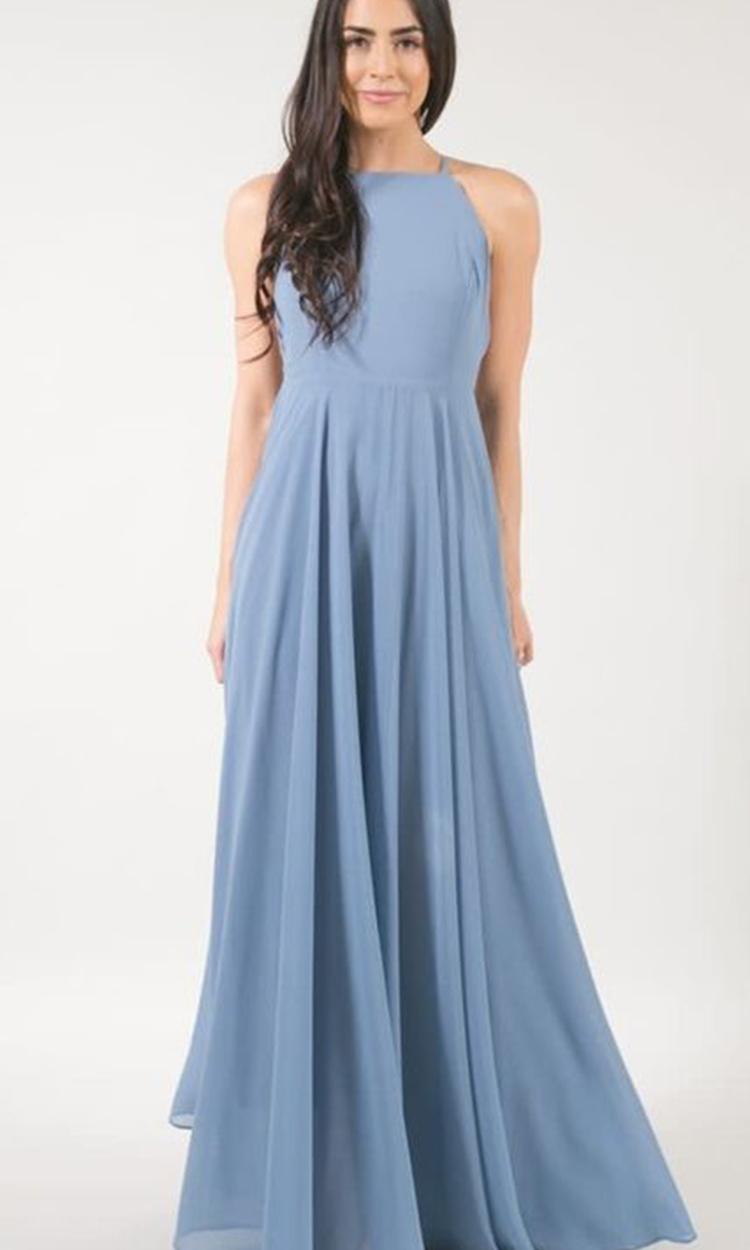 shop adorn - Elegant Bridesmaid's Dresses in baby blue, soft blue and gray blue tones.
