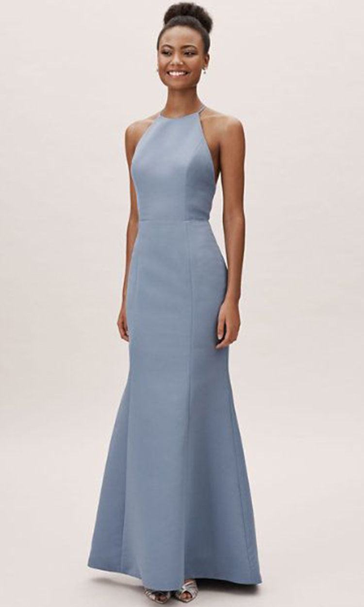 shop bhldn - Elegant Bridesmaid's Dresses in baby blue, soft blue and gray blue tones.