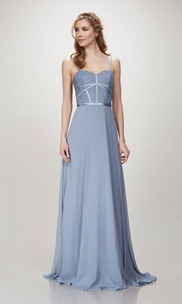 shop theia - Elegant Bridesmaid's Dresses in baby blue, soft blue and gray blue tones.