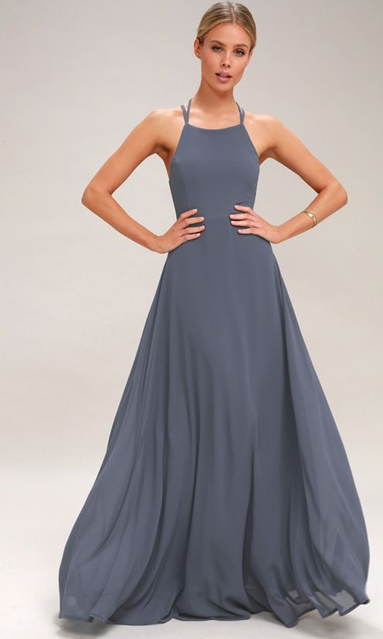 shop lulus - Elegant Bridesmaid's Dresses in baby blue, soft blue and gray blue tones.