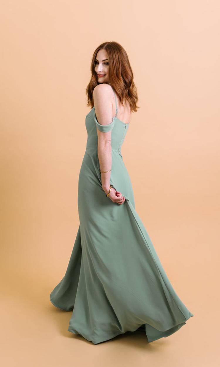 shop maide - Elegant Bridesmaid's Dresses in light green, sage, and olive tones.