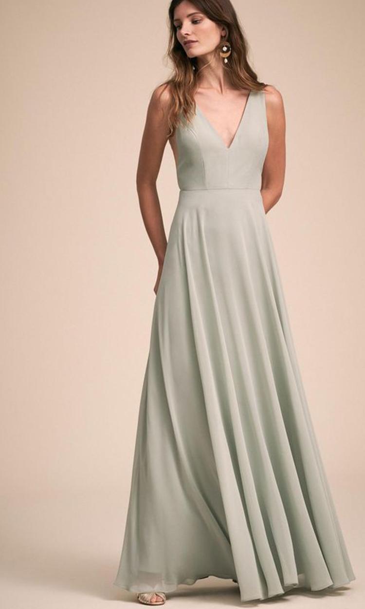 shop anthropologie - Elegant Bridesmaid's Dresses in light green, sage, and olive tones.