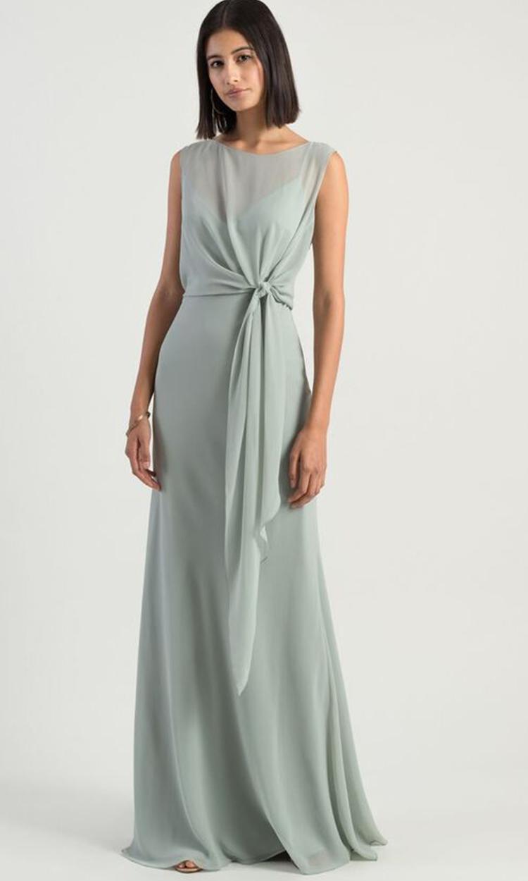 shop jenny yoo - Elegant Bridesmaid's Dresses in light green, sage, and olive tones.